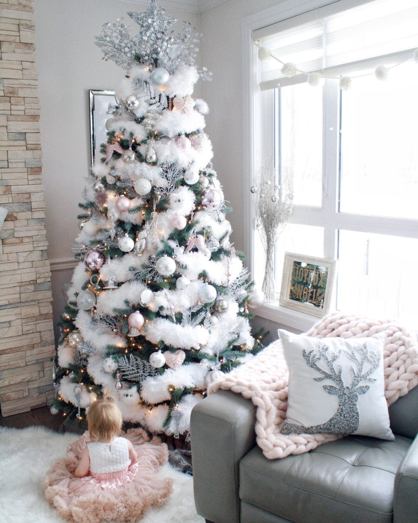 Glam Christmas Home Tour Showcasing Fluffy White Feathered Christmas Tree And Glam Pink And Silver Decor Chandeliers And Champagne